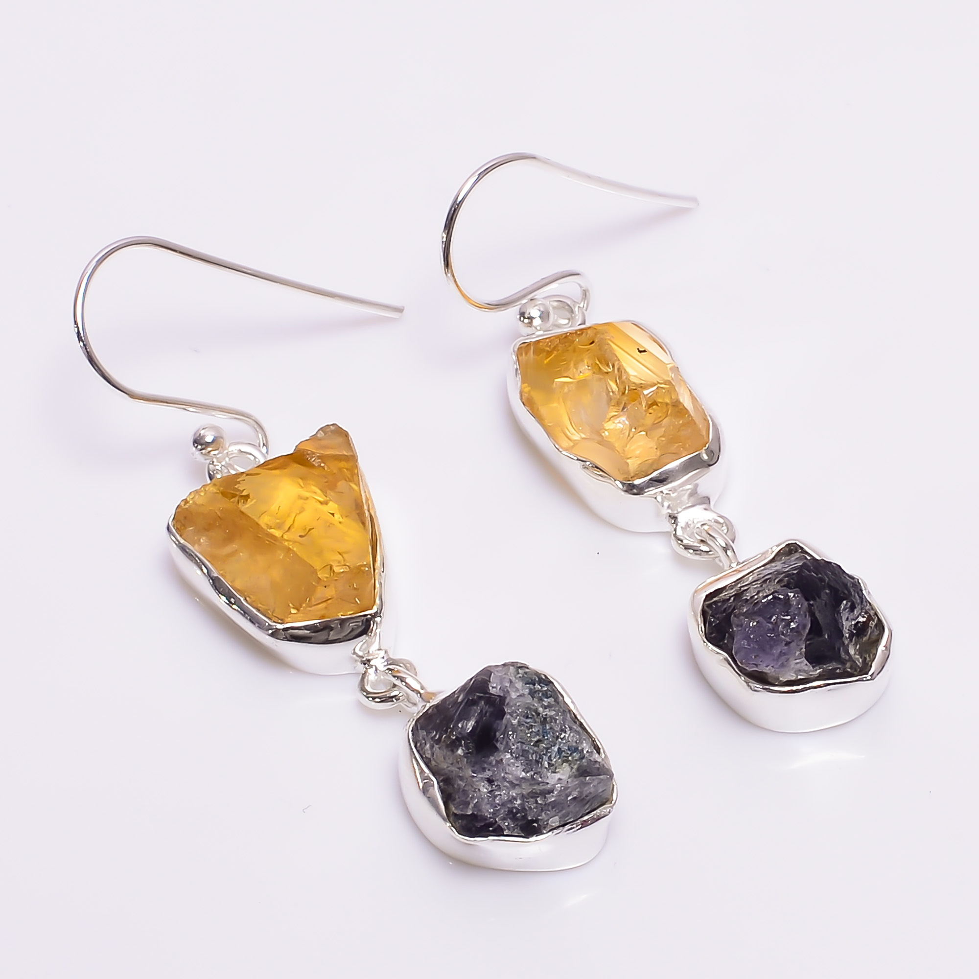 Citrine Tanzanite Raw Gemstone 925 Sterling Silver Earrings