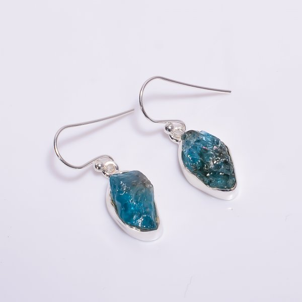 Sky Apatite Raw Gemstone 925 Sterling Silver Earrings