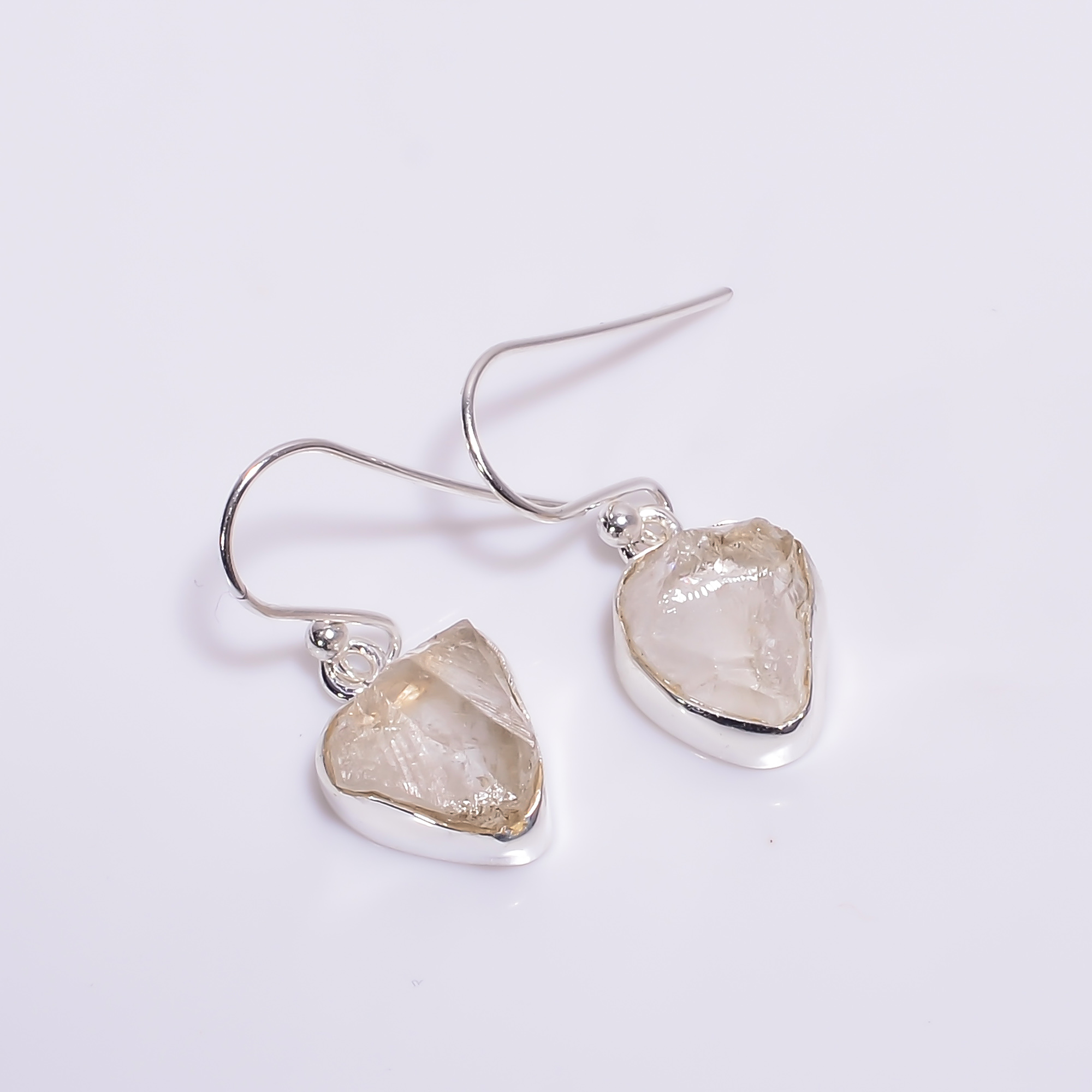 Crystal Raw Gemstone 925 Sterling Silver Drop Earrings