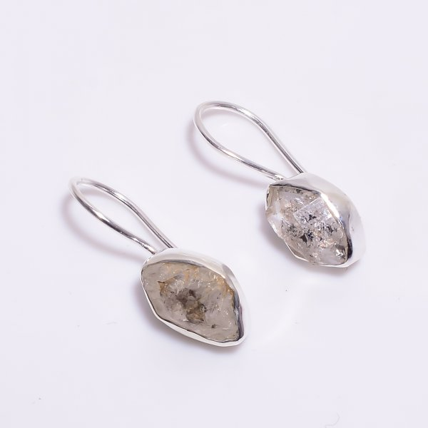 Natural Herkimer Diamond Raw Gemstone 925 Sterling Silver Earrings