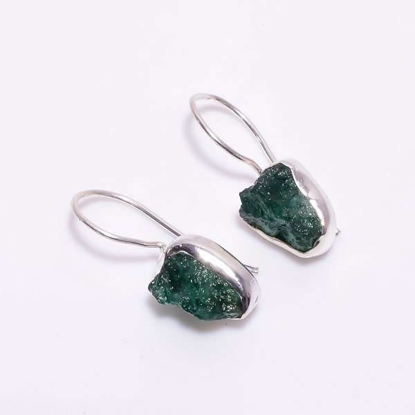 Green Aventurine Raw Gemstone 925 Sterling Silver Earrings