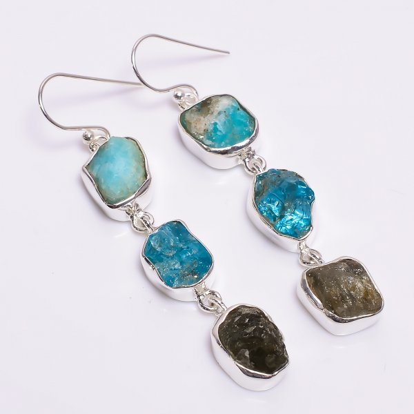 Amazonite Sky Apatite Labradorite Raw Gemstone 925 Sterling Silver Earrings