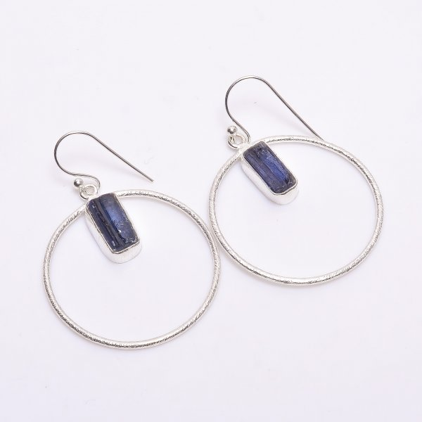Blue Kyanite Raw Gemstone 925 Sterling Silver Earrings