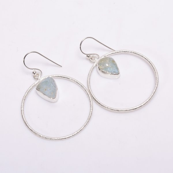 Aquamarine Raw Gemstone 925 Sterling Silver Earrings