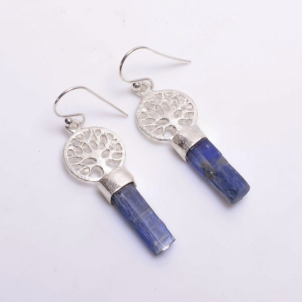 Blue Kyanite Raw Gemstone 925 Sterling Silver Drop Earrings