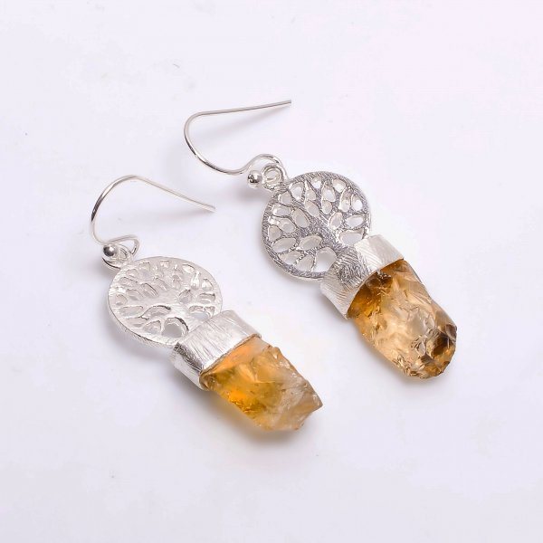 Citrine Raw Gemstone 925 Sterling Silver Drop Earrings