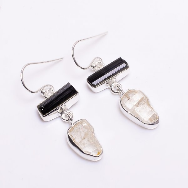 Raw Black Tourmaline Herkimer Diamond 925 Sterling Silver Drop Earrings