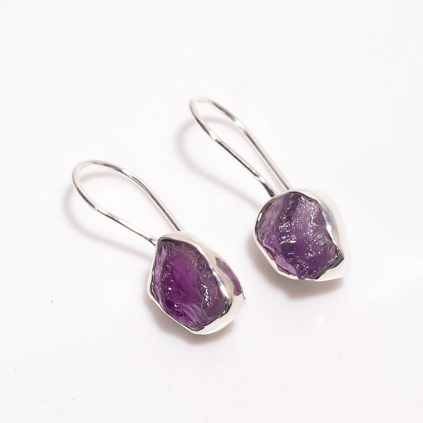 Natural Amethyst Raw Gemstone 925 Sterling Silver Earrings