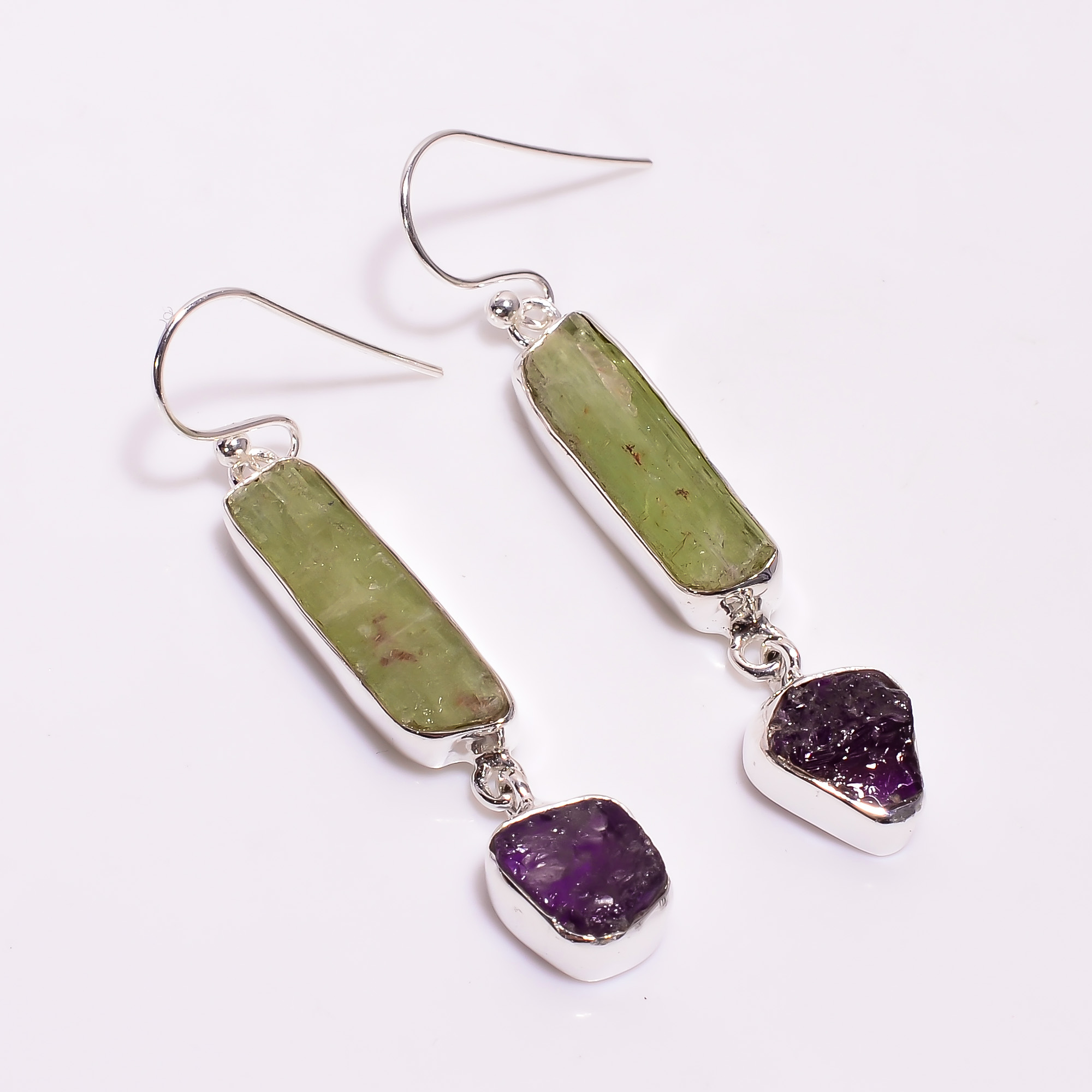 Natural Green Kyanite Amethyst Raw Gemstone 925 Sterling Silver Drop Earrings