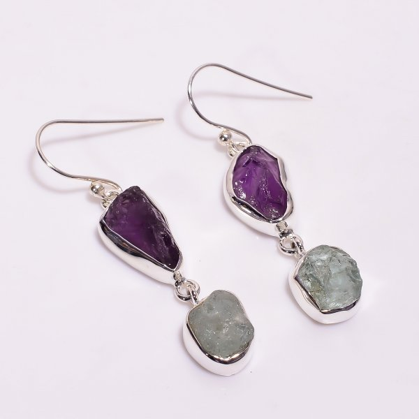 Natural Amethyst Aquamarine Raw Gemstone 925 Sterling Silver Drop Earrings