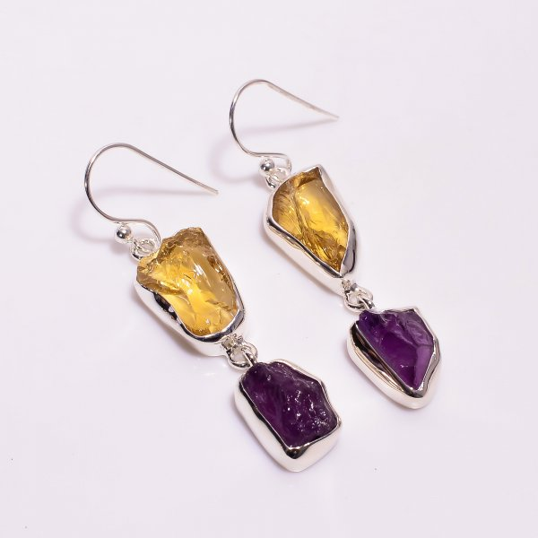 Natural Citrine Amethyst Raw Gemstone 925 Sterling Silver Drop Earrings