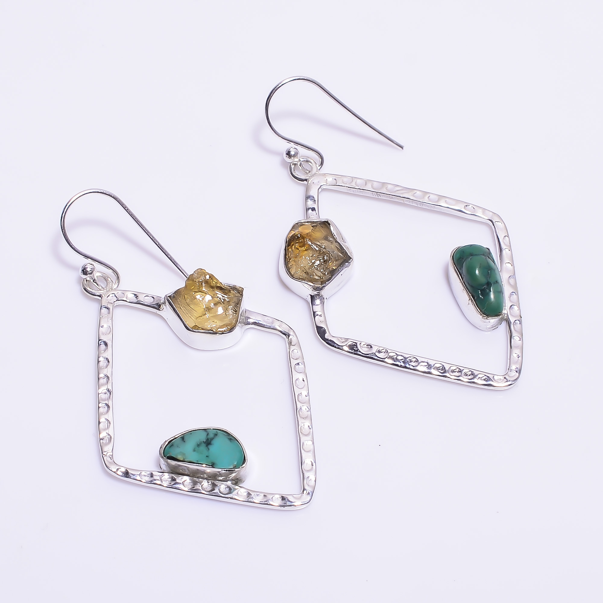 Citrine Turquoise Raw Gemstone 925 Sterling Silver Hammered Earrings