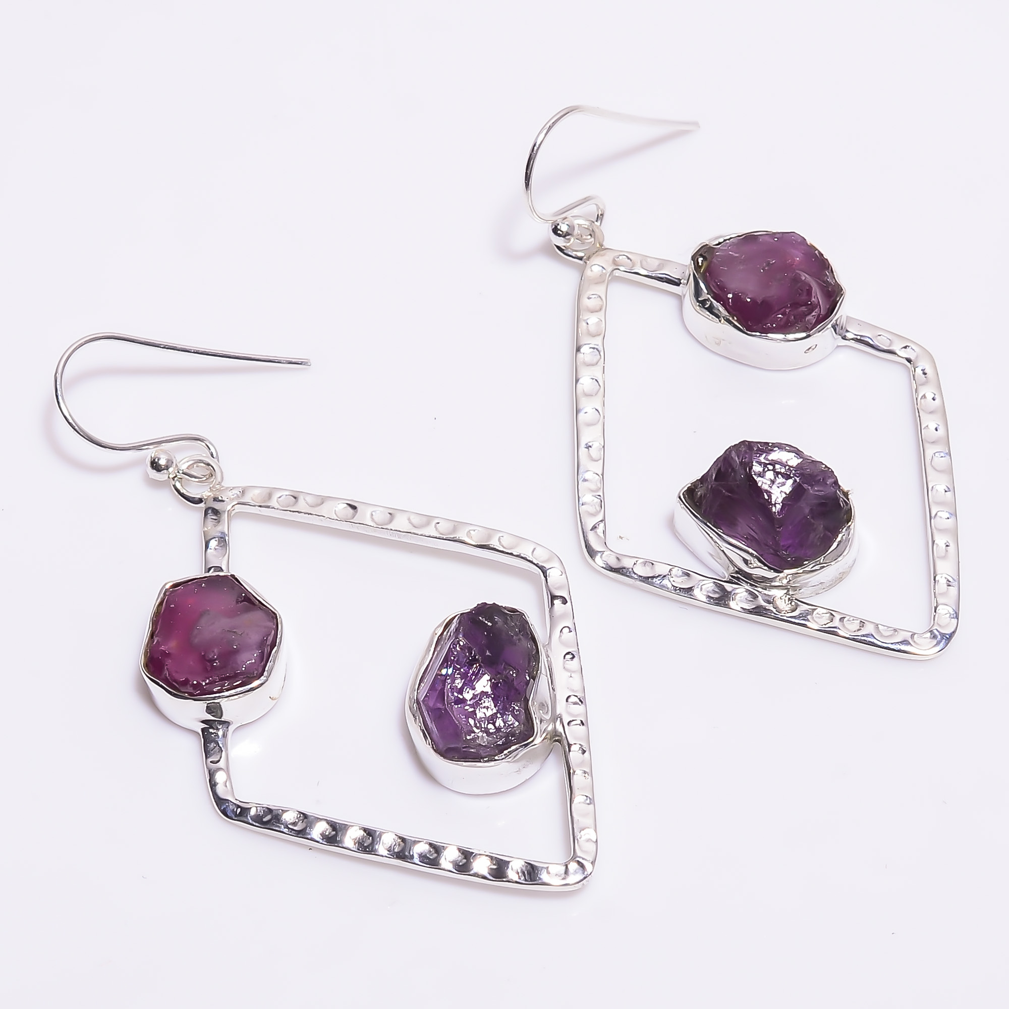 Ruby Amethyst Raw Gemstone 925 Sterling Silver Hammered Earrings