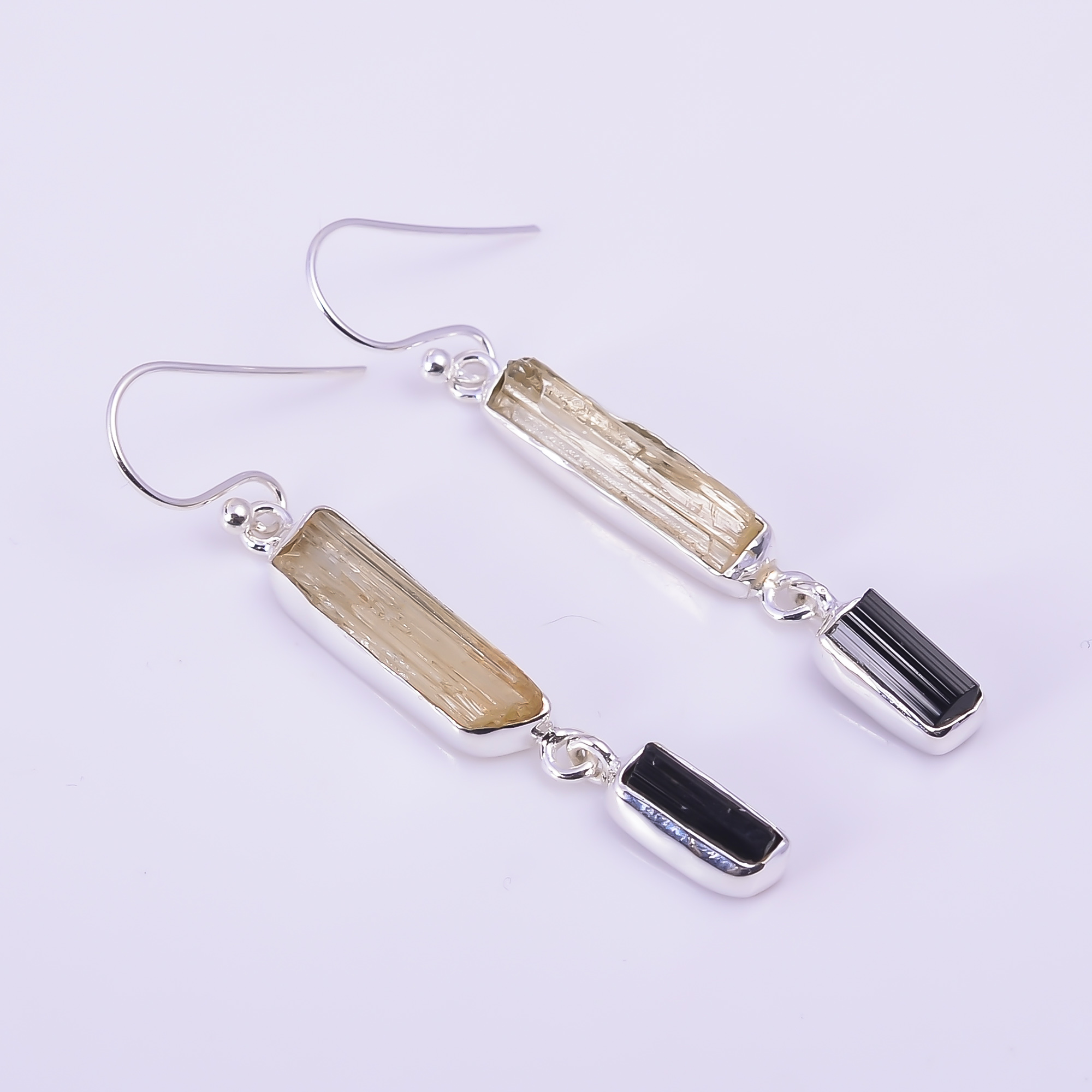 Scapolite Black Tourmaline Raw Gemstone 925 Sterling Silver Earrings