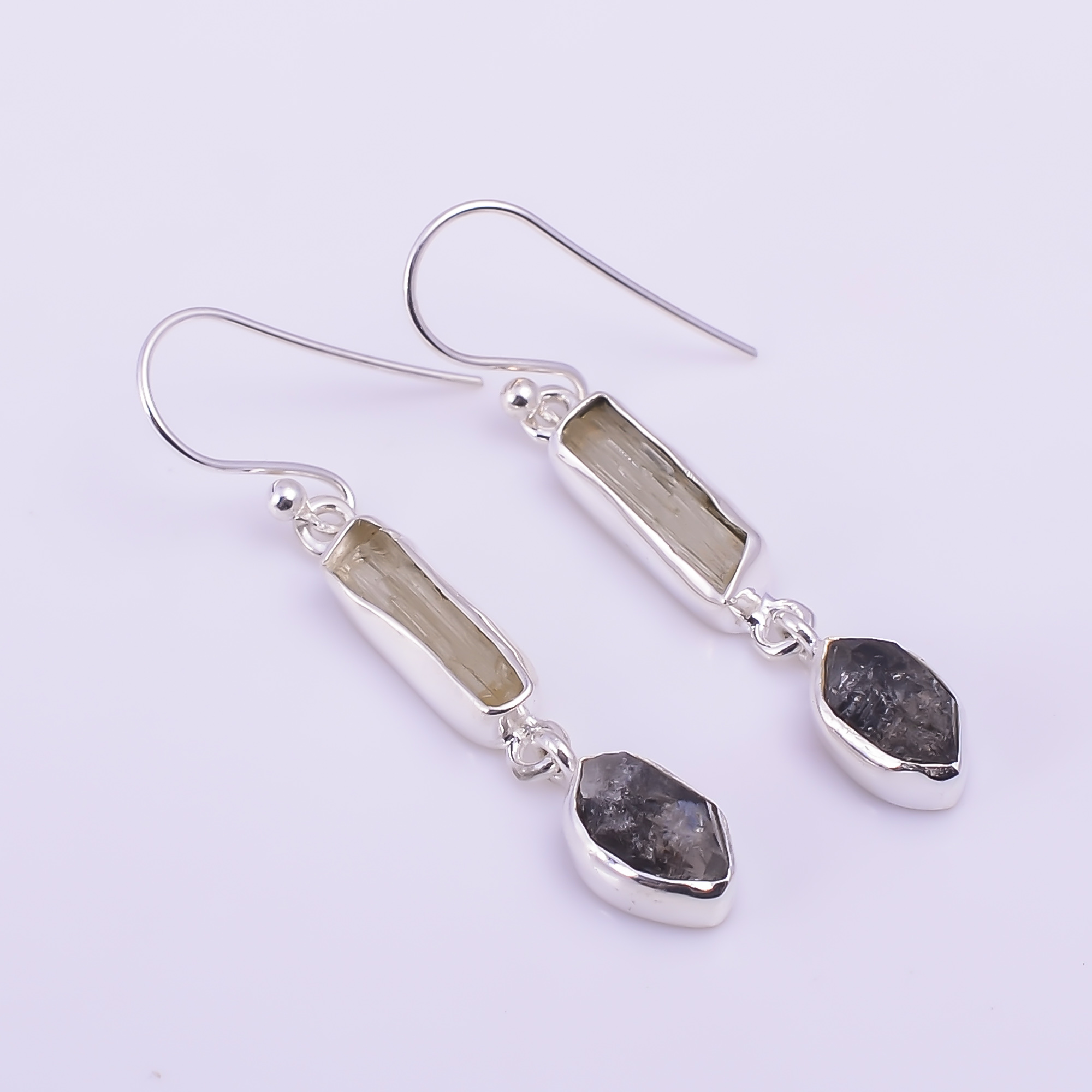 Natural Scapolite Herkimer Diamond 925 Sterling Silver Earrings