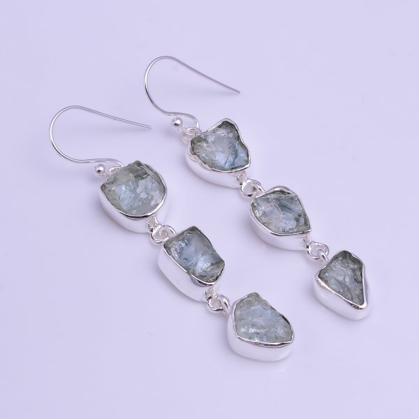Aquamarine Raw Gemstone 925 Sterling Silver Drop Earrings