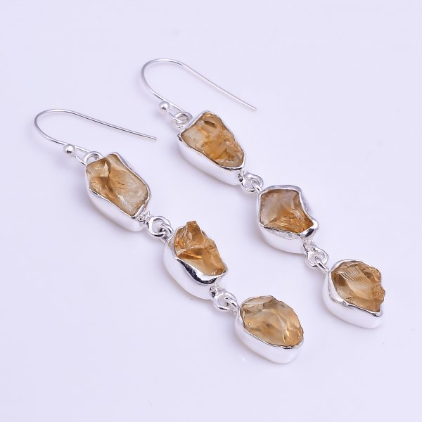 Natural Raw Citrine Gemstone 925 Sterling Silver Drop Earrings