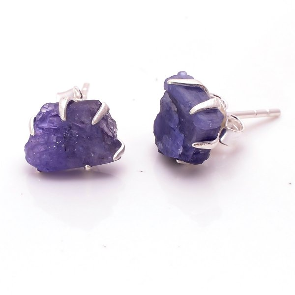 Raw Tanzanite Gemstone 925 Sterling Silver Stud Earrings