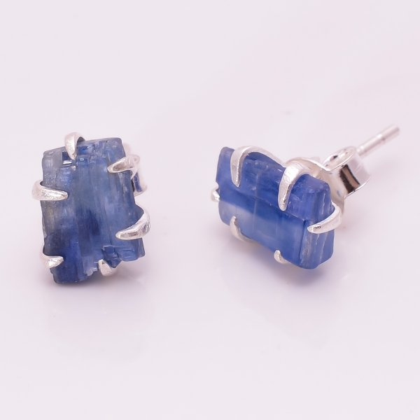 Raw Blue Kyanite Gemstone 925 Sterling Silver Stud Earrings