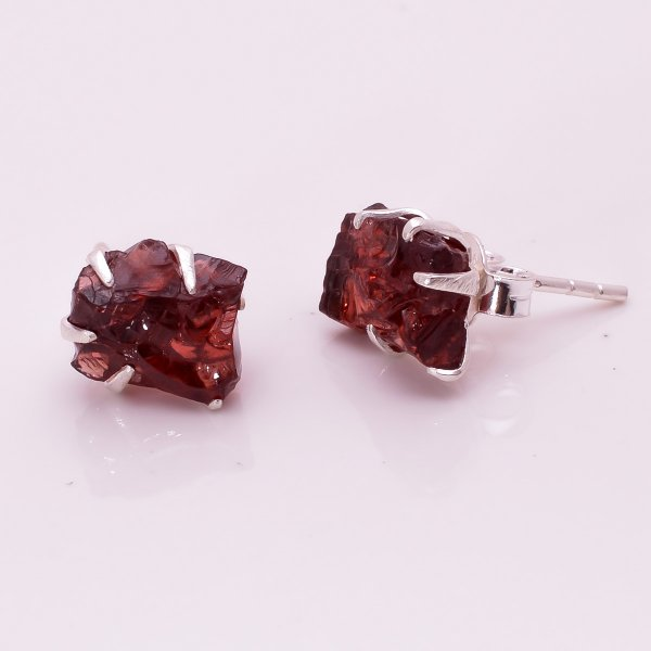 Raw Garnet Gemstone 925 Sterling Silver Stud Earrings