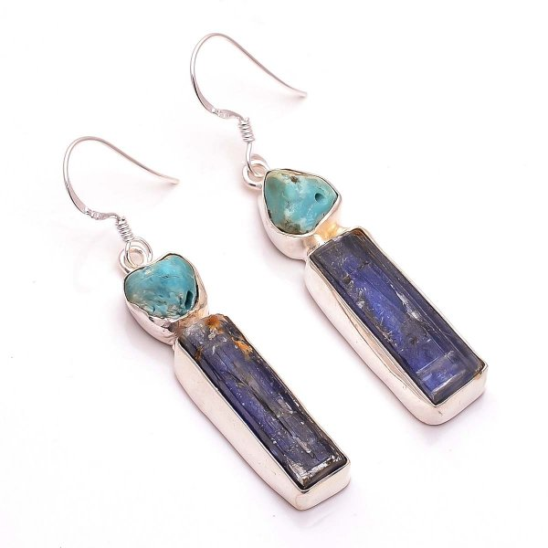 Kyanite Turquoise Raw Gemstone 925 Sterling Silver Earrings