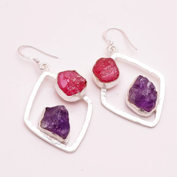Corundum Ruby Amethyst  Raw Gemstone 925 Sterling Silver Earrings