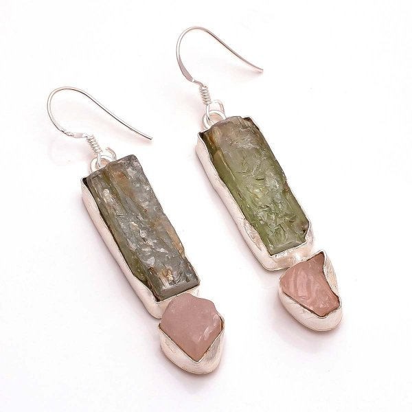 Green Kyanite Rose Quartz Raw Gemstone 925 Sterling Silver Earrings