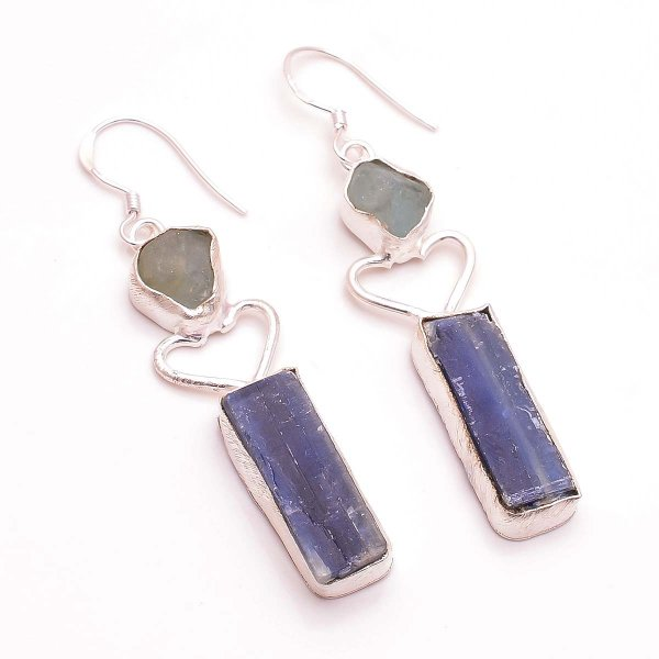 Kyanite Aquamarine  Raw Gemstone 925 Sterling Silver Earrings
