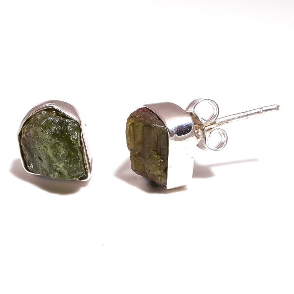 Green Tourmaline Raw Gemstone 925 Sterling Silver Stud Earrings
