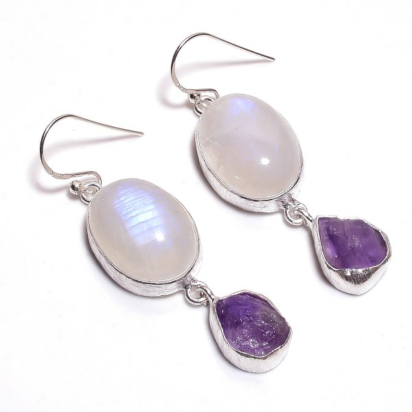 Rainbow Moonstone Amethyst Raw Gemstone 925 Sterling Silver Earrings