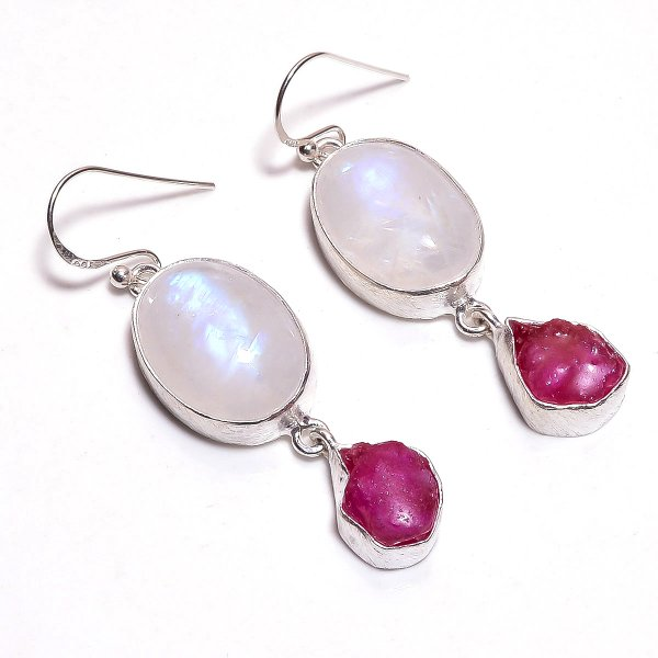 Rainbow Moonstone Corundum Ruby Raw Gemstone 925 Sterling Silver Earrings