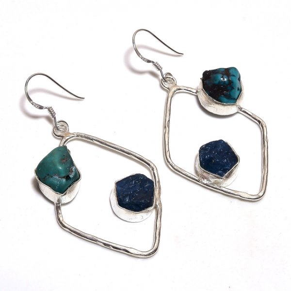 Turquoise Neon Apatite Raw Gemstone 925 Sterling Silver Earrings