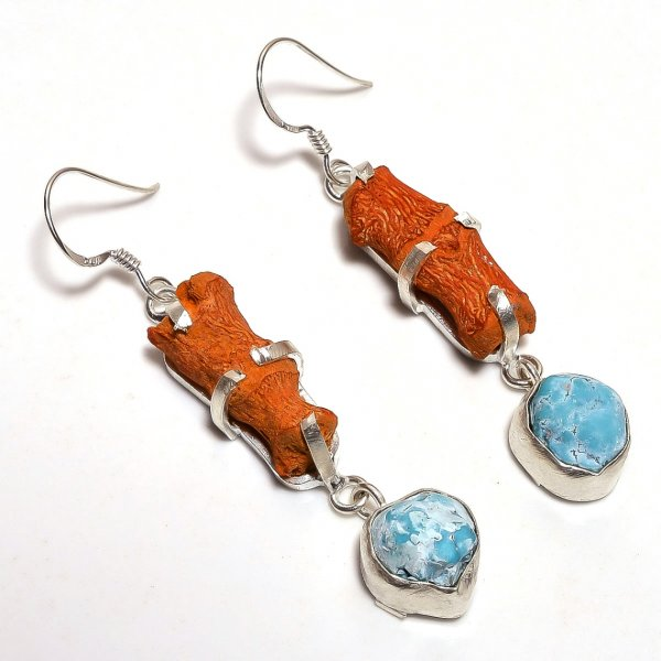 Coral Turquoise Raw Gemstone 925 Sterling Silver Earrings