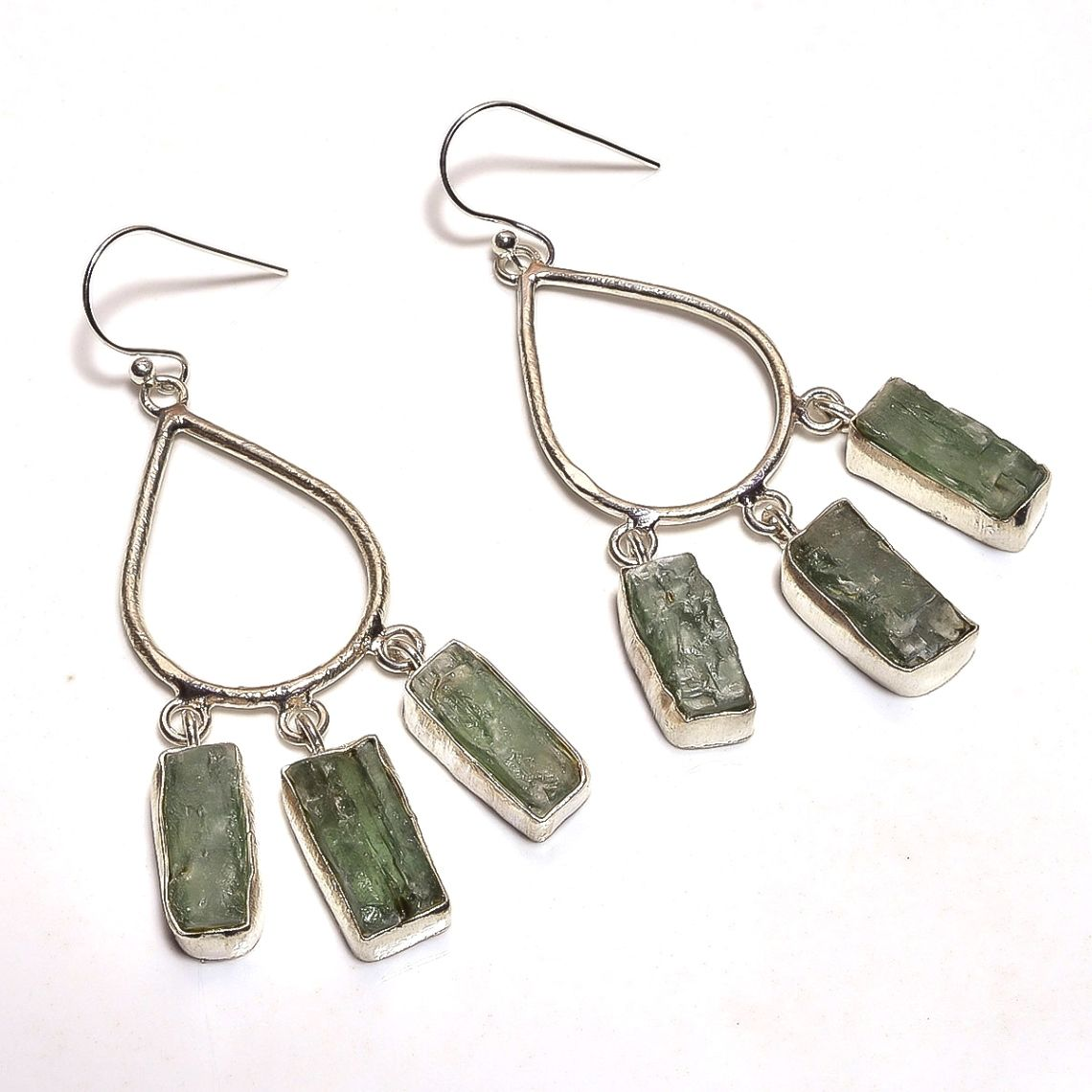 Green Kyanite Raw Gemstone 925 Sterling Silver Earrings