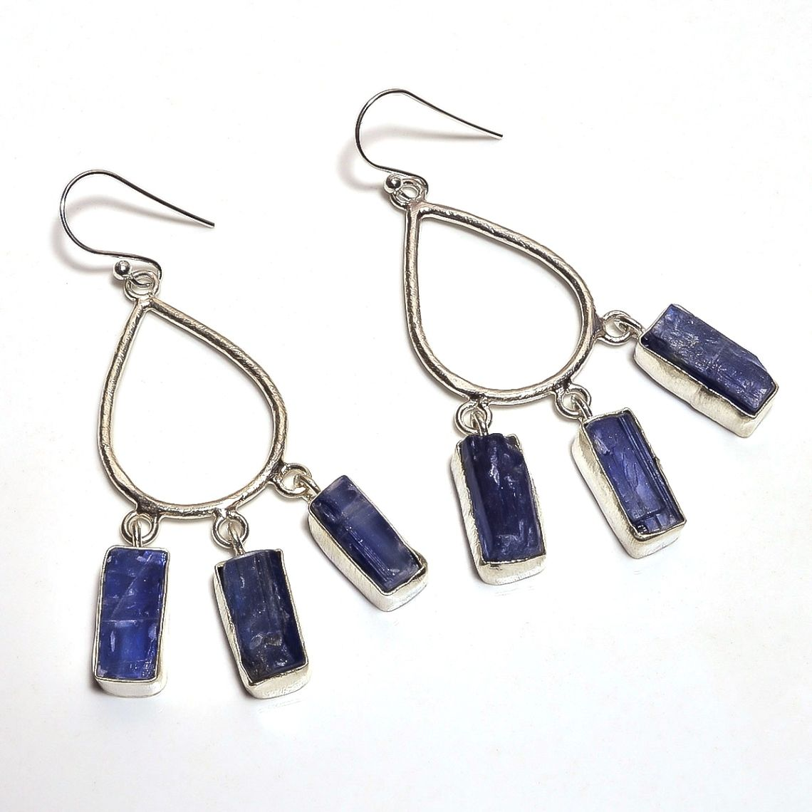 Kyanite Raw Gemstone 925 Sterling Silver Earrings
