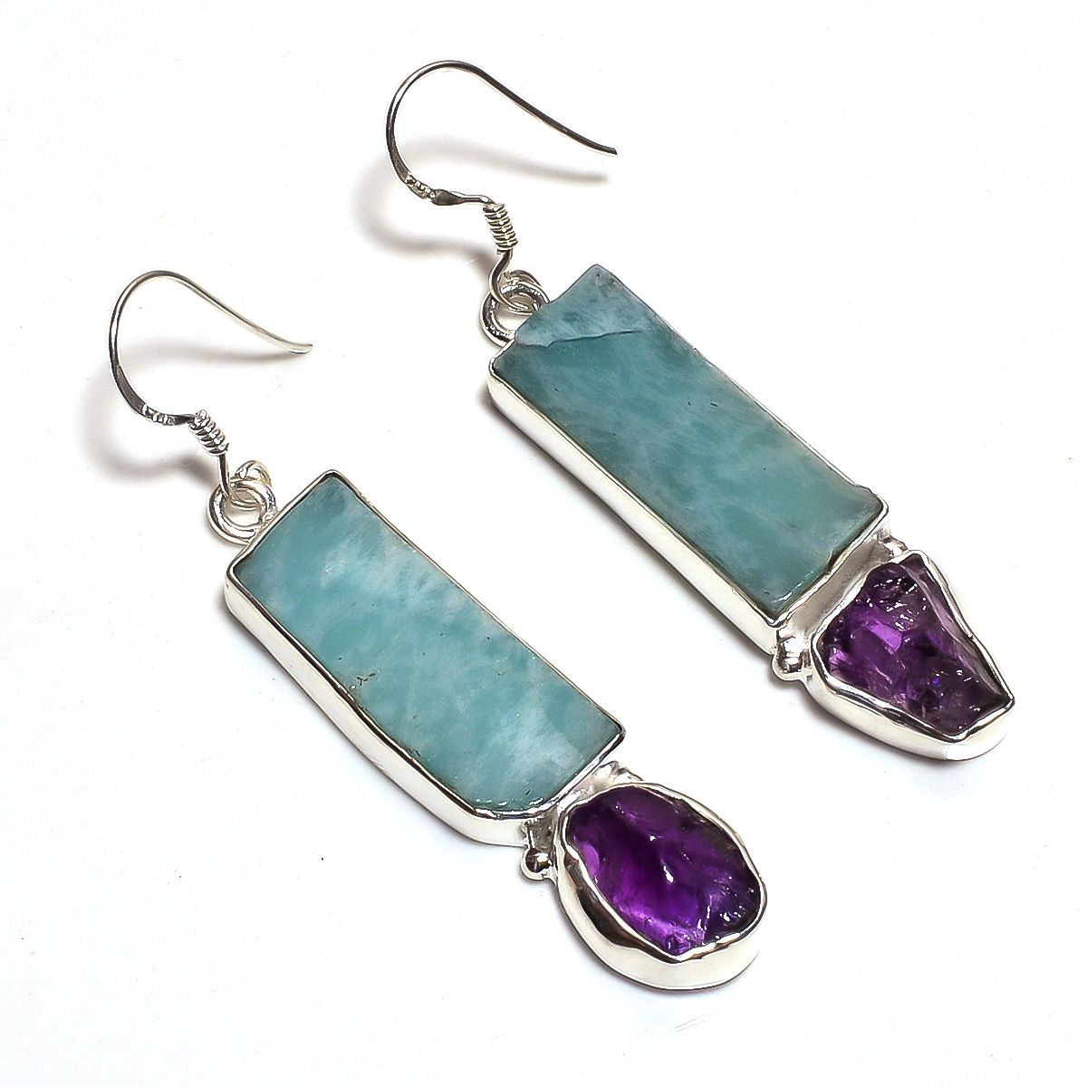 Amazonite Amethyst Raw Gemstone 925 Sterling Silver Earrings