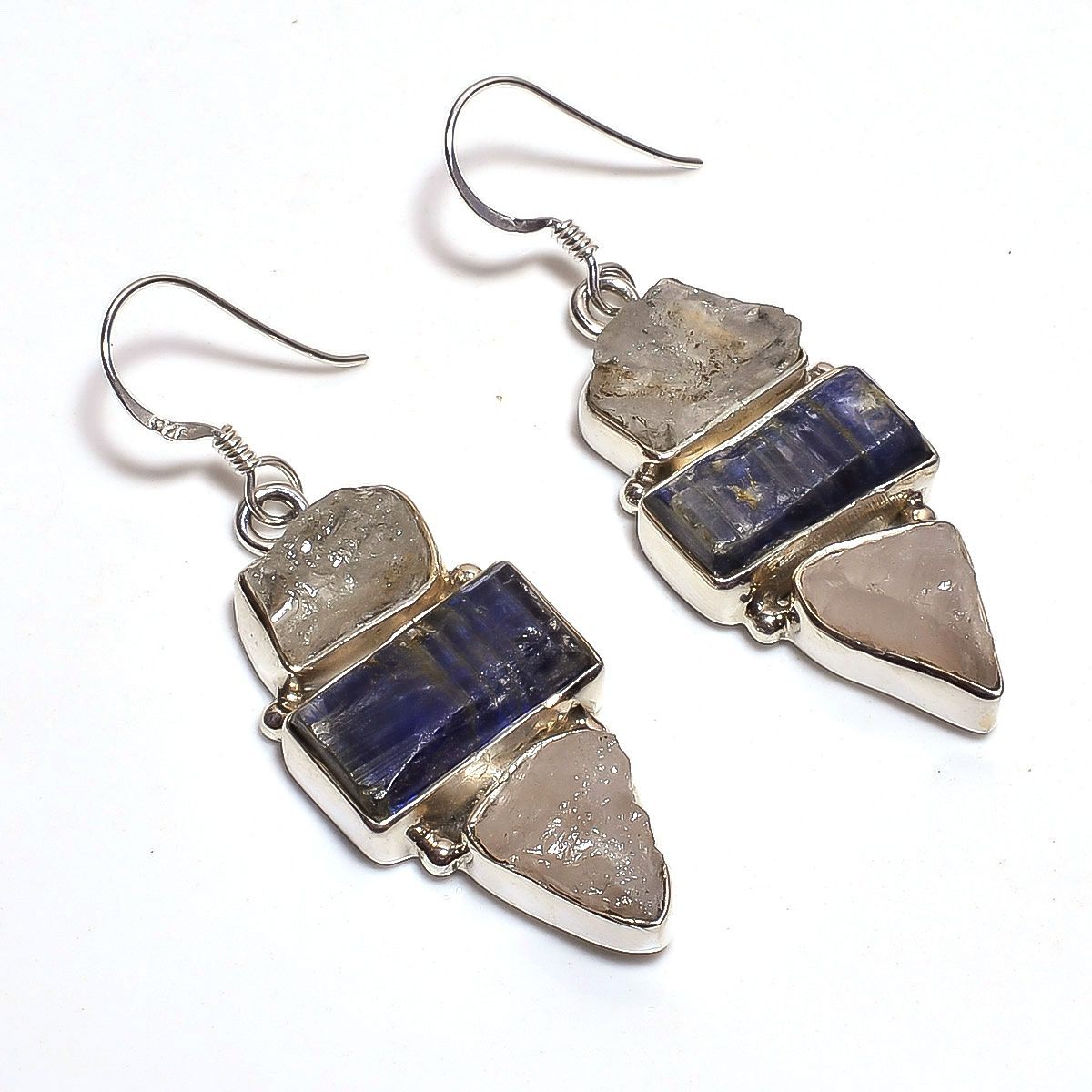 Aquamarine Kyanite Raw Gemstone 925 Sterling Silver Earrings