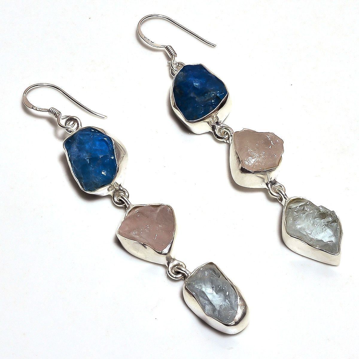 Neon Apatite Rose Quartz Raw Gemstone 925 Sterling Silver Earrings