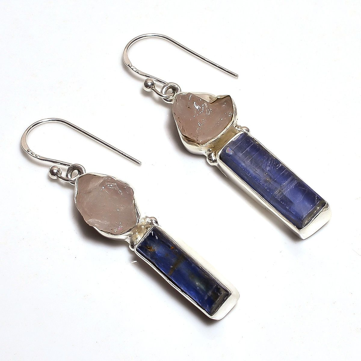 Rose Quartz Kyanite Raw Gemstone 925 Sterling Silver Earrings