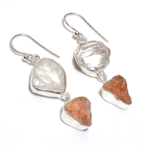 Raw Crystal Sunstone 925 Sterling Silver Earrings