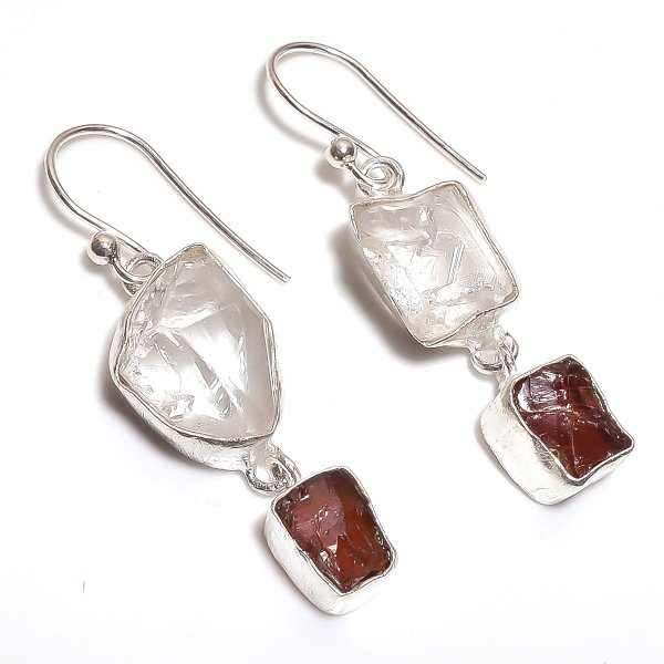 Crystal Garnet Raw Gemstone 925 Sterling Silver Earrings