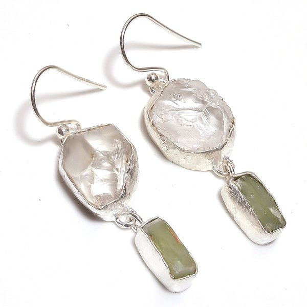 Crystal Green Kyanite Raw Gemstone 925 Sterling Silver Earrings