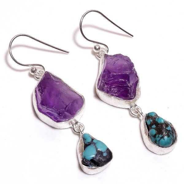 Amethyst, Turquoise Raw Gemstone 925 Sterling Silver Earrings