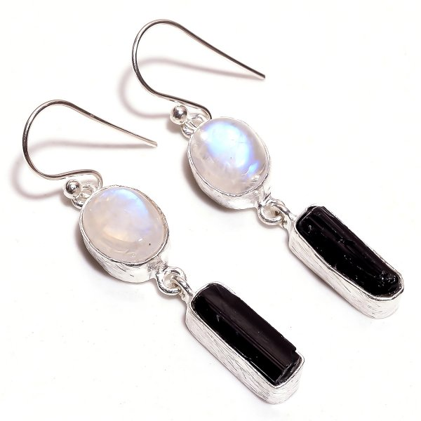 Black Tourmaline Raw Gemstone 925 Sterling Silver Earrings