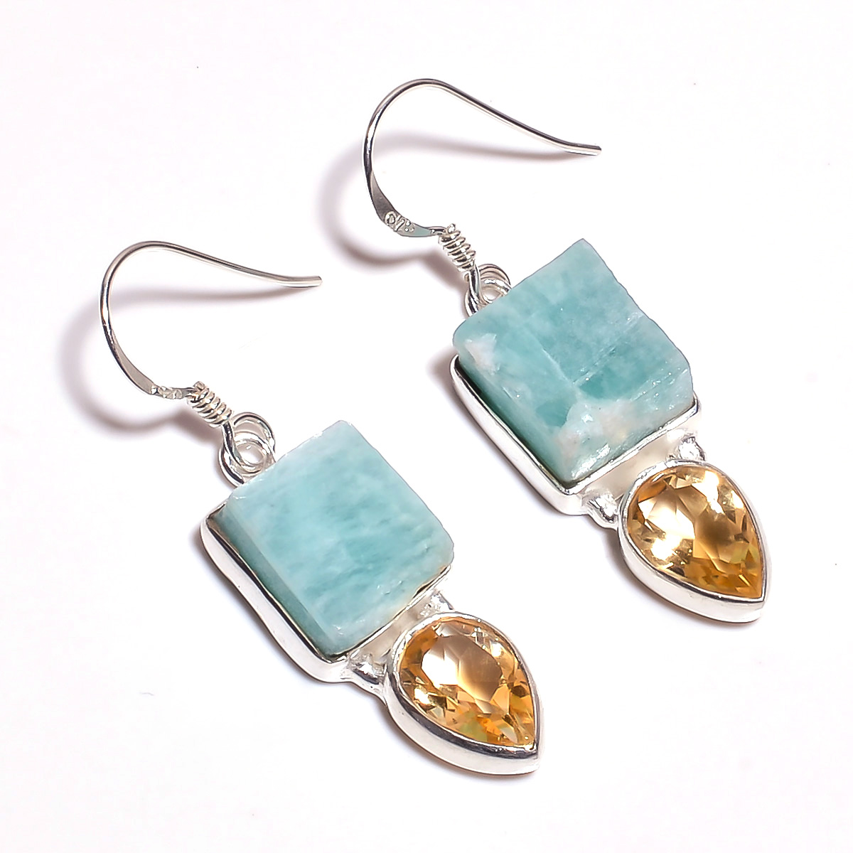 Amazonite Citrine Raw Gemstone 925 Sterling Silver Earrings