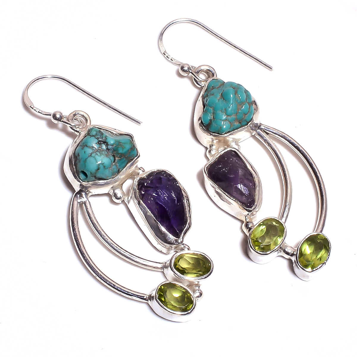 Turquoise Amethyst Raw Gemstone 925 Sterling Silver Earrings
