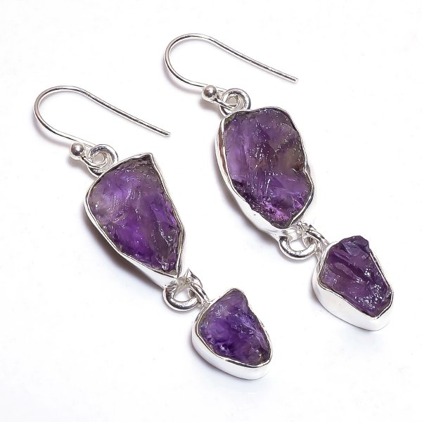Raw Amethyst Gemstone 925 Sterling Silver Earrings