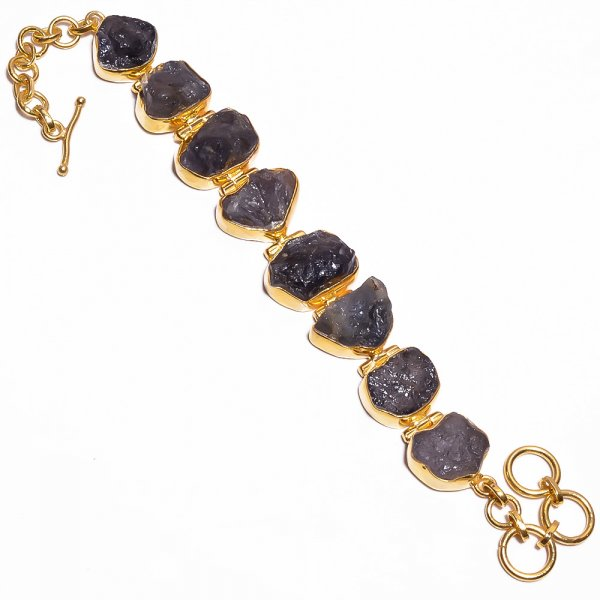 Tanzanite Raw Gemstone 925 Sterling Silver Gold Plated Bracelet