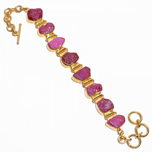 Corundum Ruby Raw Gemstone 925 Sterling Silver Gold Plated Bracelet