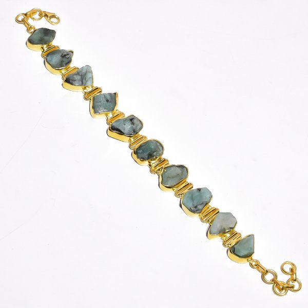 Emerald Raw Gemstone 925 Sterling Silver Gold Plated Bracelet